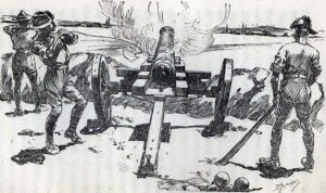 Firing 'Nelson', the muzzle-loading naval gun Siege of Mafeking 14th October 1899 to 16th May 1900