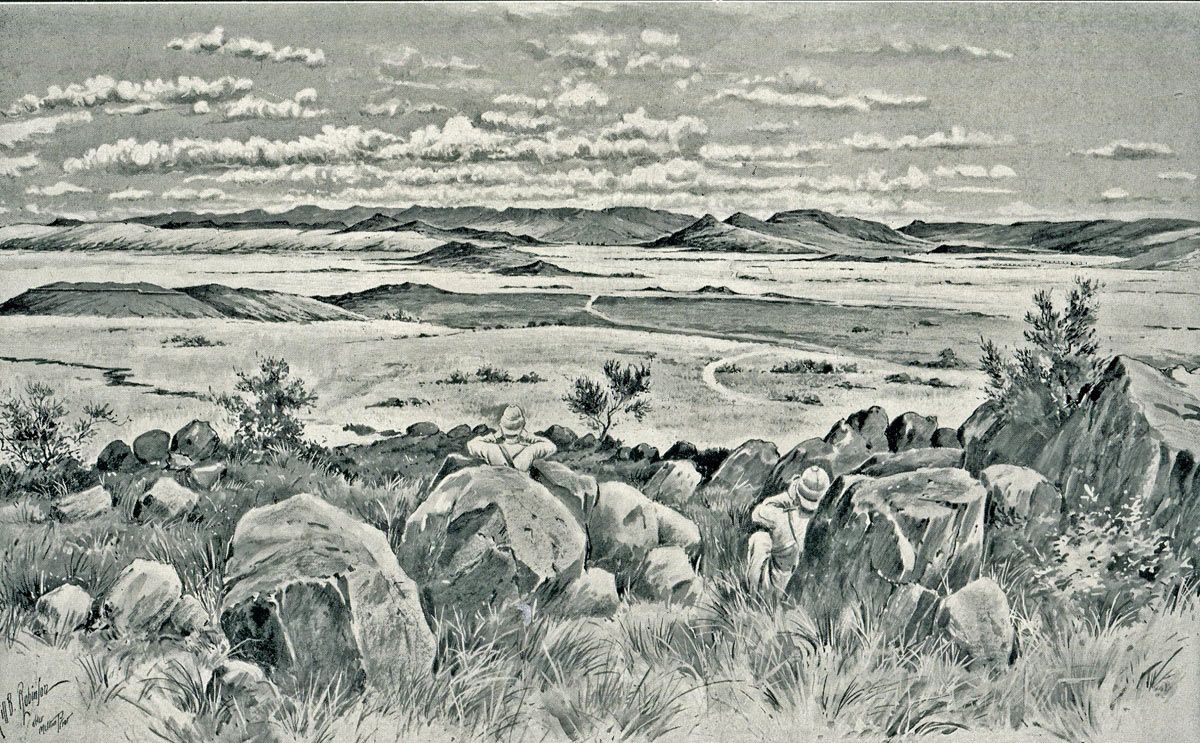 Observation Hill in Ladysmith: Siege of Ladysmith, 2nd November 1899 to 27th February 1900 in the Great Boer War: picture by Melton Prior