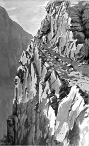 Cliff path on Kelly's route to Gupis: Siege and Relief of Chitral, 3rd March to 20th April 1895 on the North-West Frontier of India
