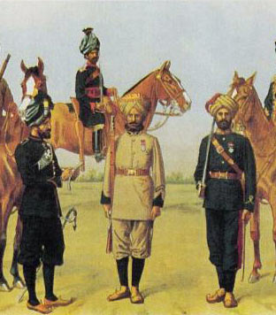 Punjab Frontier Force ('PIFFERS') 1st Punjab Regiment, 1st Punjab Cavalry, 3rd Sikhs and Punjab Mountain Battery: Waziristan campaign, 3rd November 1894 to March 1895 on the North-West Frontier of India: picture by Richard Simkin