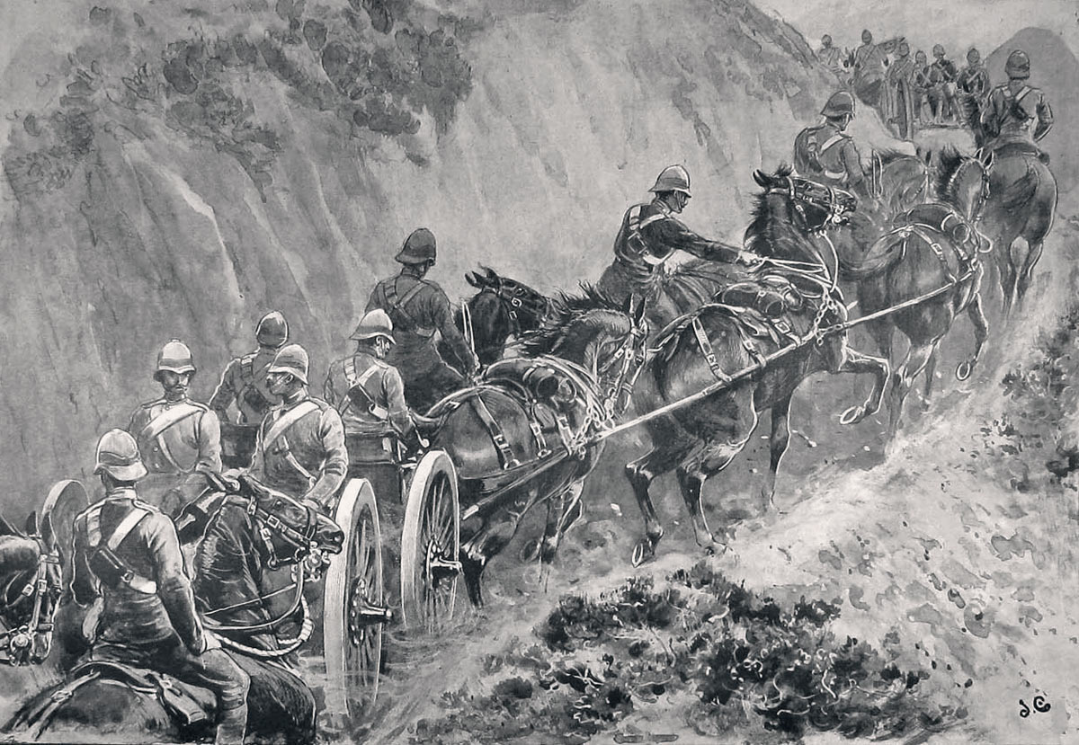 Royal Artillery advancing to Malakand: Malakand Rising, 26th July to 22nd August 1897 on the North-West Frontier of India
