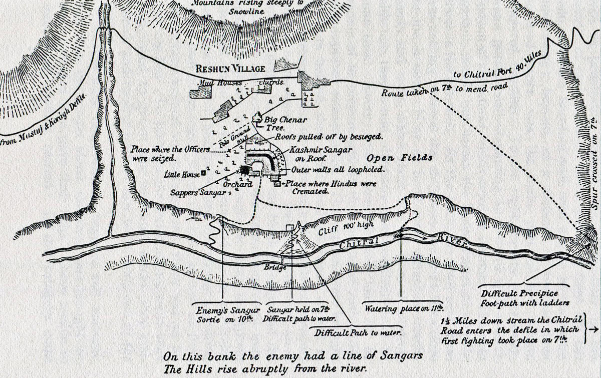 Plan of Reshun, which lies south of the river: Siege and Relief of Chitral, 3rd March to 20th April 1895 on the North-West Frontier of India