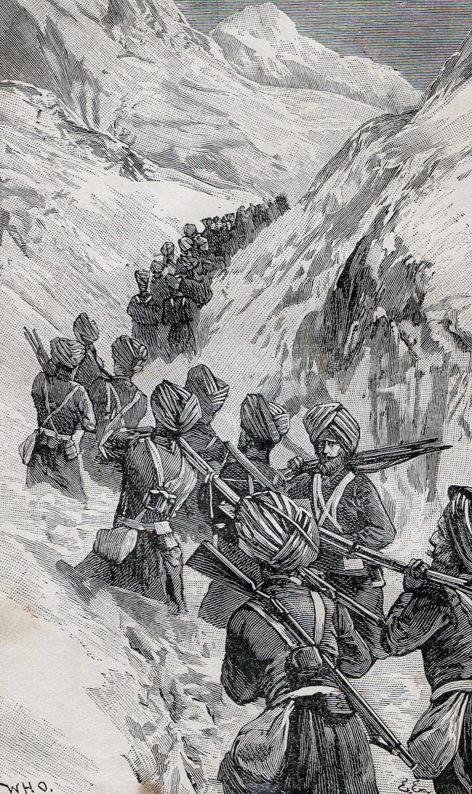 Sikhs carrying the mountain guns across the Shandur Pass: Siege and Relief oaf Chitral, 3rd March to 20th April 1895 on the North-West Frontier of India: picture by William Overend