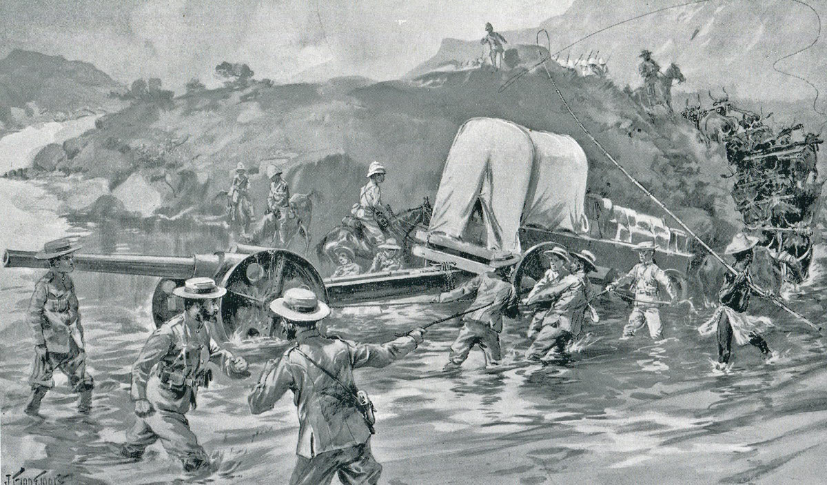 Royal Navy 4.7-inch guns crossing the Tugela River: Siege of Ladysmith, 2nd November 1899 to 27th February 1900 in the Great Boer War