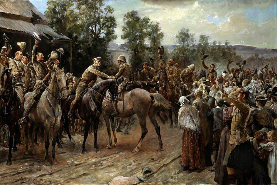General Sir George White greets General Buller on the relief of Ladysmith: Siege of Ladysmith, 2nd November 1899 to 27th February 1900 in the Great Boer War: picture by John Henry Frederick Bacon