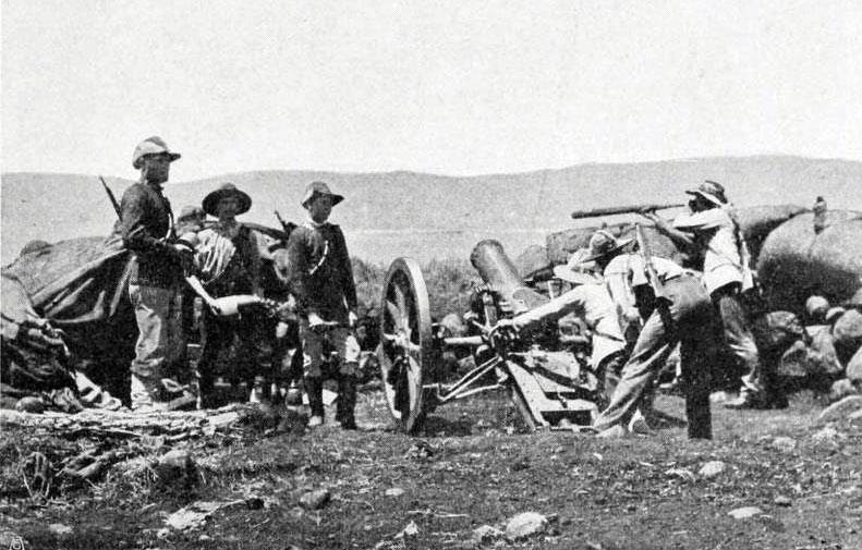 Transvaalers firing a howitzer: Siege of Mafeking 14th October 1899 to 16th May 1900