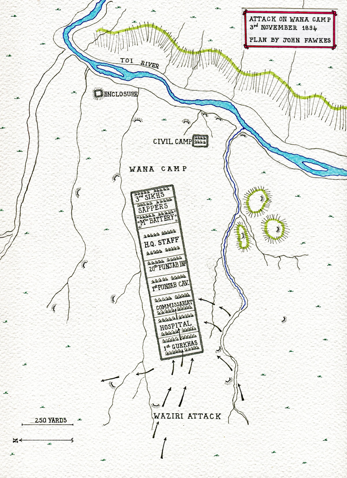 Plan of the Waziri attack on Wana Camp on 3rd November 1894: Waziristan campaign, 3rd November to March 1895, on the North-West Frontier of India: plan by John Fawkes