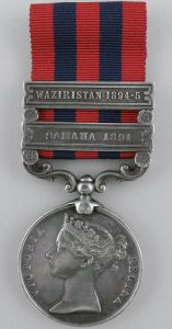 Indian General Service Medal 1854 with the clasp 'Waziristan 1894-5': Waziristan campaign 3rd November 1894 to March 1895 on the North-West Frontier of India