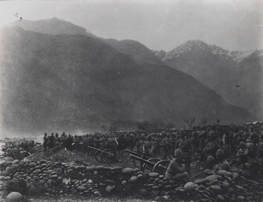 British No 1 Mountain Battery ceasing fire at Diliarai: Black Mountain Expedition, 1st March 1891 to 29th May 1891 on the North-West Frontier in India