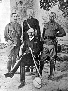 Surgeon Major Robertson (seated) with Lieutenants Harley, Gurdon and Captain Townsend: Siege and Relief of Chitral, 3rd March to 20th April 1895 on the North-West Frontier of India