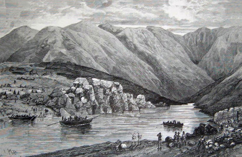The flying bridge across the Indus at Bakrai: Black Mountain Expedition, 1st March 1891 to 29th May 1891 on the North-West Frontier in India: picture by Melton Prior