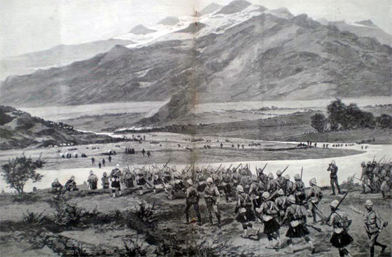 Gordon Highlanders advancing to the Swat River: Siege and Relief of Chitral, 3rd March to 20th April 1895 on the North-West Frontier of India