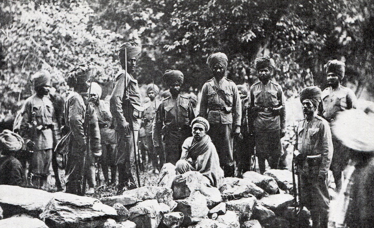 Amir-al-Mulk, deposed Mehtar of Chitral, guarded by Sikh and Kashmir soldiers of the Chitral garrison; Siege and Relief of Chitral, 3rd March to 20th April 1895 on the North-West Frontier of India