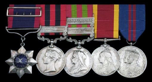 Medals of Jemadar Sundar Singh, 14th Sikhs, the senior non-commissioned soldier to survive the Koragh Defile action with Lieutenant Jones and 14 sepoys of the regiment. The Indian General Service Medal has the clasp 'Relief of Chitral 1895': Siege and Relief of Chitral, 3rd March to 20th April 1895 on the North-West Frontier of India