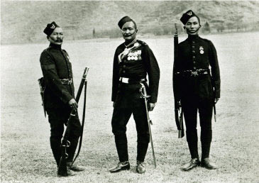 Officer, sergeant and private of 5th Gurkhas: Black Mountain Expedition, 1st March 1891 to 29th May 1891 on the North-West Frontier in India: buy this print