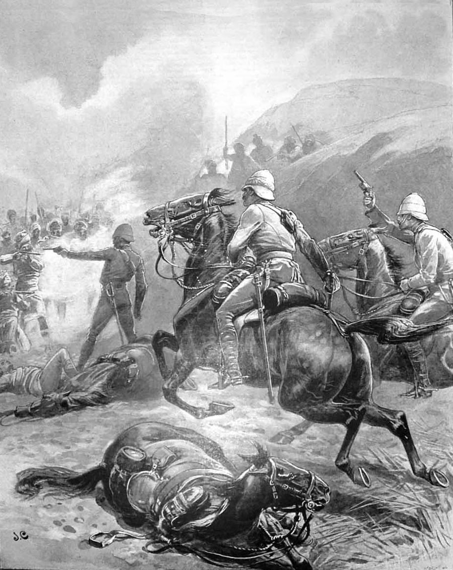 The rescue of Palmer and Greaves by Colonel Adams and Viscount Fincastle, who both won the VC: Malakand Rising, 26th July to 22nd August 1897 on the North-West Frontier of India