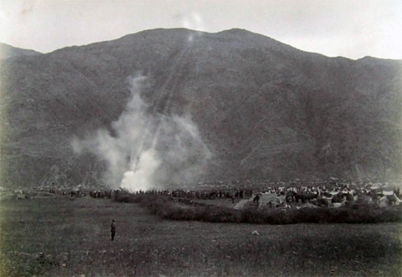 British guns shelling Diliarai: Black Mountain Expedition, 1st March 1891 to 29th May 1891 on the North-West Frontier in India