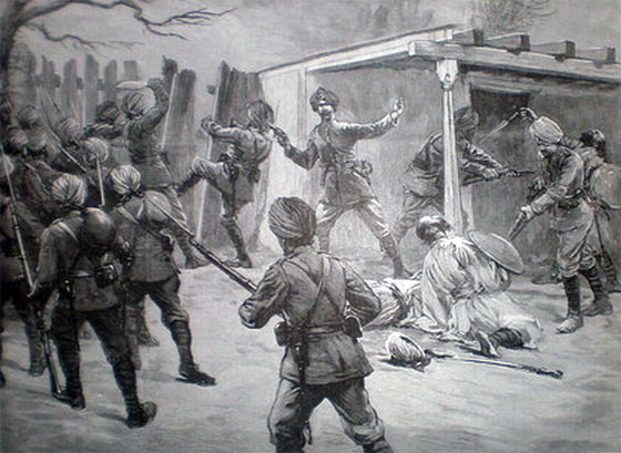 Lieutenant Harley's Sikhs storming the Chitrali tunnel: Siege and Relief of Chitral, 3rd March to 20th April 1895 on the North-West Frontier of India