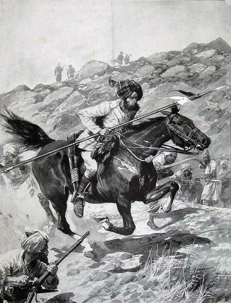Sowar of the 11th Bengal Lancers riding through the tribesmen: Malakand Rising, 26th July to 22nd August 1897 on the North-West Frontier of India: picture by Richard Caton Woodville
