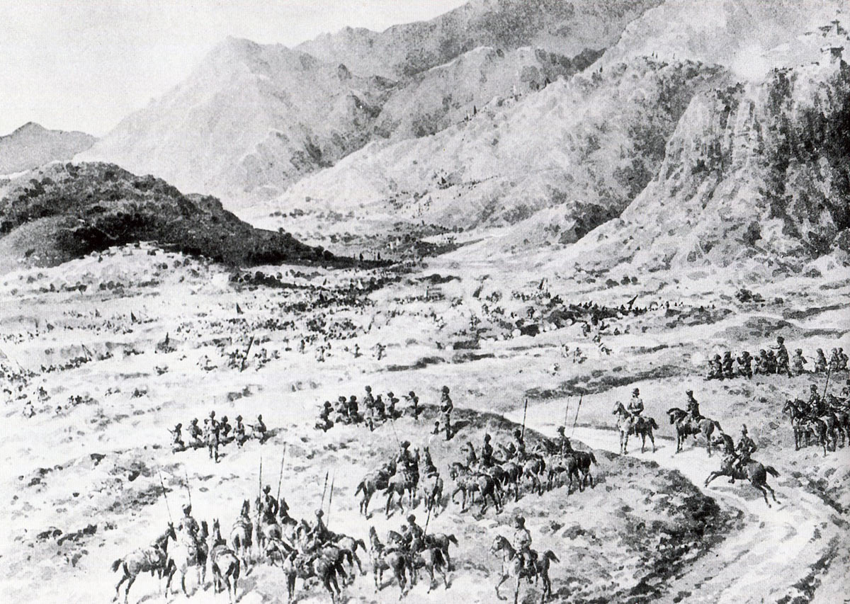 Reconnaissance by 11th Bengal Lancers and the Guides Cavalry on 1st August 1897: Malakand Rising, 26th July to 22nd August 1897 on the North-West Frontier of India: drawing by Edmund Hobday