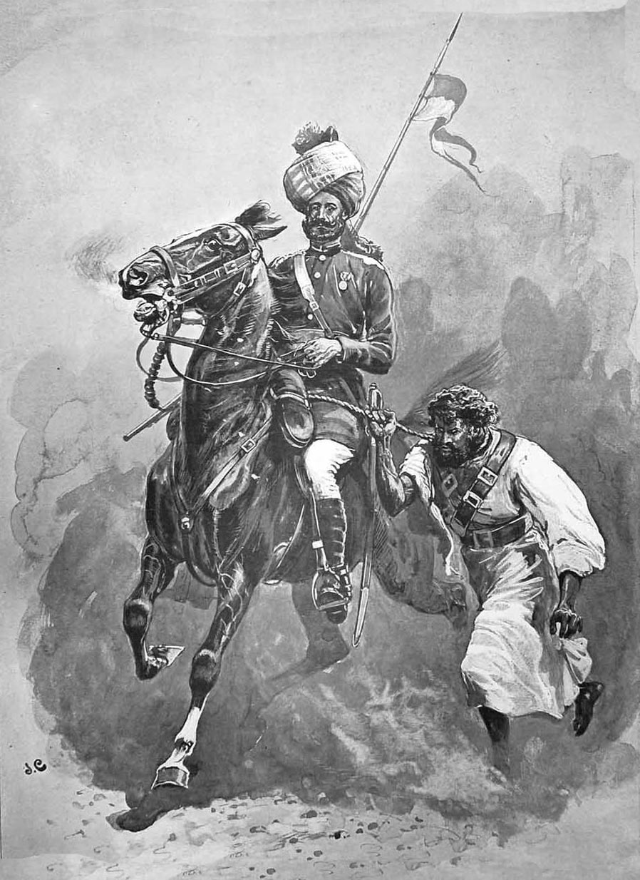 13th Bengal Lancer bringing in a Pathan prisoner: Mohmand Field Force, 7th August to 1st October 1897, North-West Frontier of India: picture by John Charlton