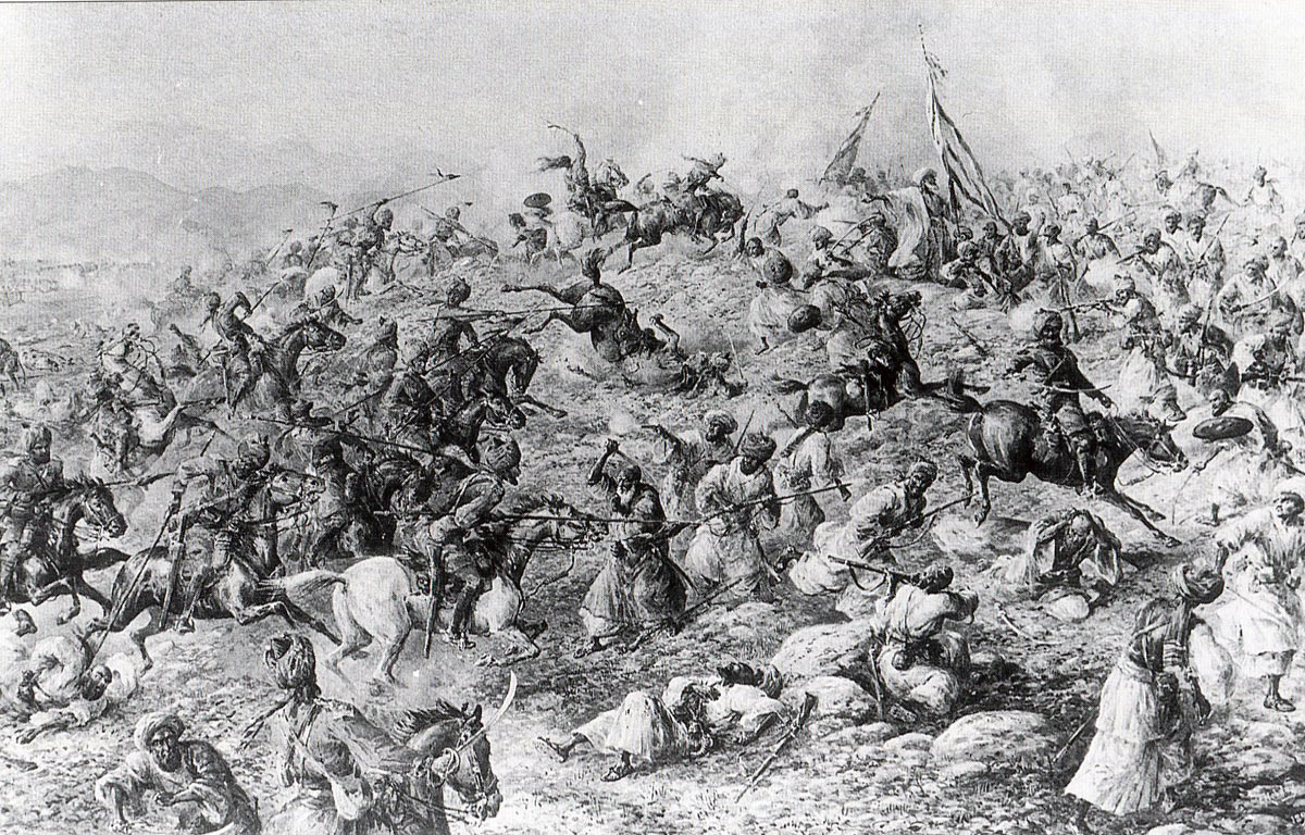 13th Bengal Lancers charging the Hadda Mulla's tribesmen at Shabkadar: Mohmand Field Force, 7th August to 1st October 1897, North-West Frontier of India: picture by Edmund Hobday