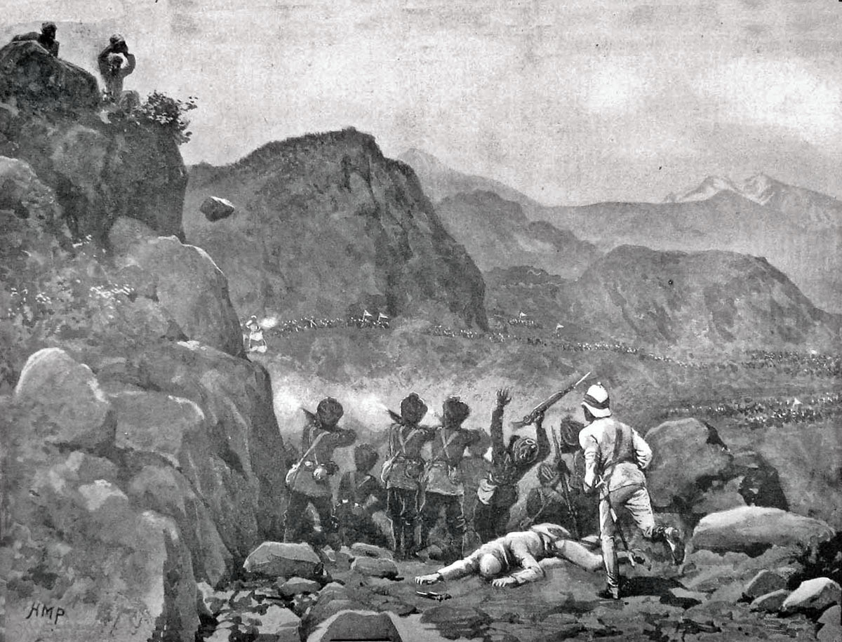 45th Sikhs holding the piquet on the Budhist Road into Malakand Camp: Malakand Rising, 26th July to 22nd August 1897 on the North-West Frontier of India