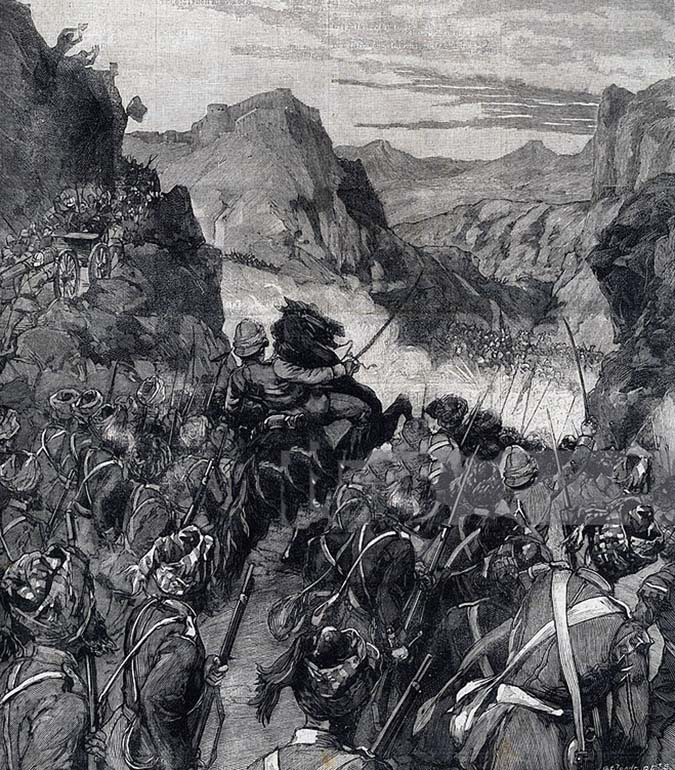 The relief of Chakdara Fort: Malakand Rising, 26th July to 22nd August 1897 on the North-West Frontier of India: illustration from Le Petit Parisien