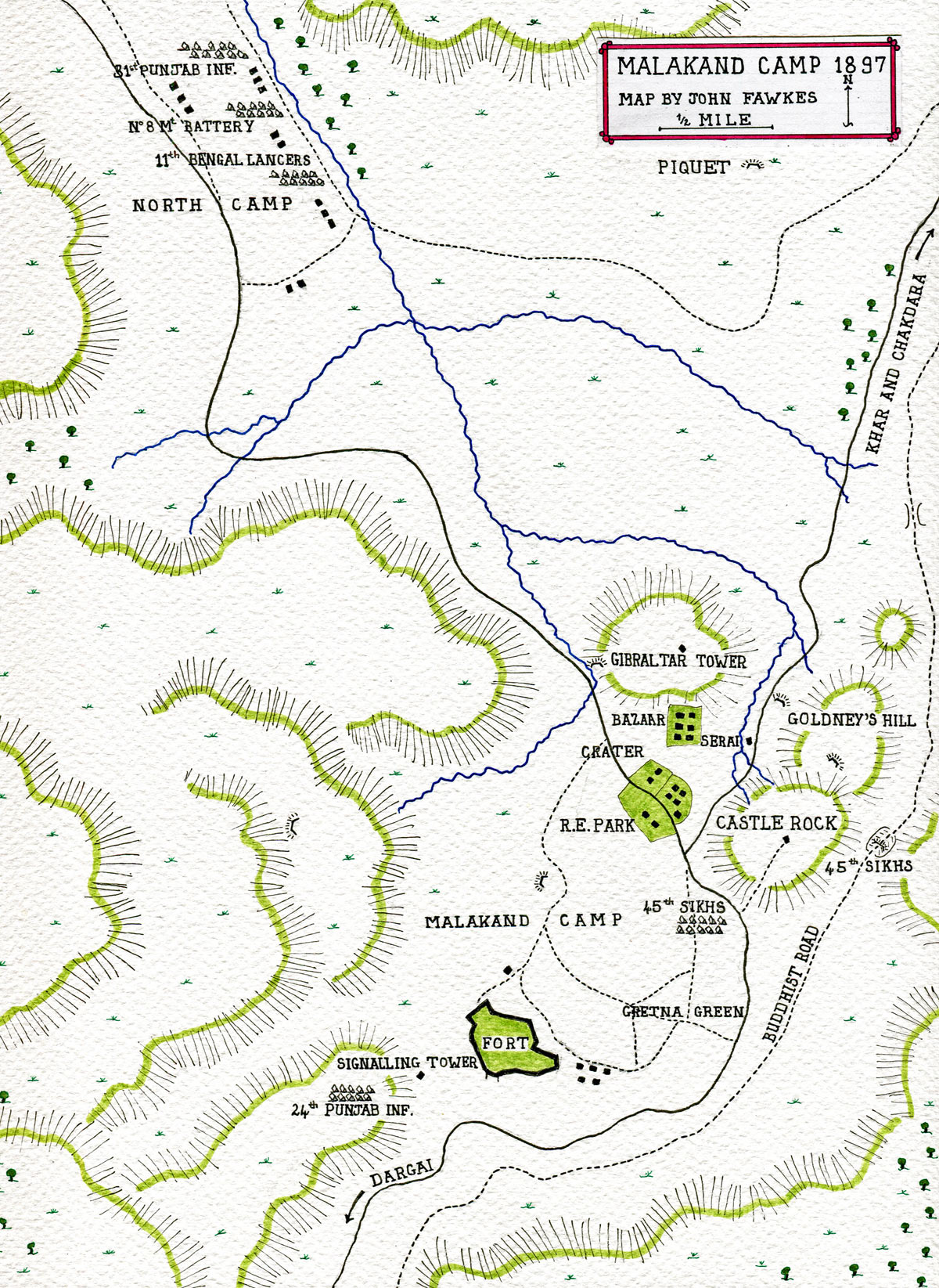 Map of Malakand Camp: Malakand Rising, 26th July to 22nd August 1897 on the North-West Frontier of India: map by John Fawkes