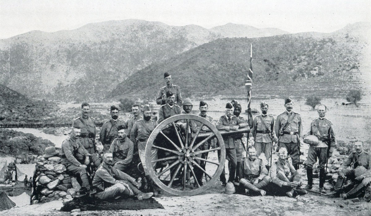 Lieutenant General Sir Bindon Blood (leaning on gun barrel) and his staff: Malakand Field Force, 8th September 1897 to 12th October 1897 on the North-West Frontier of India