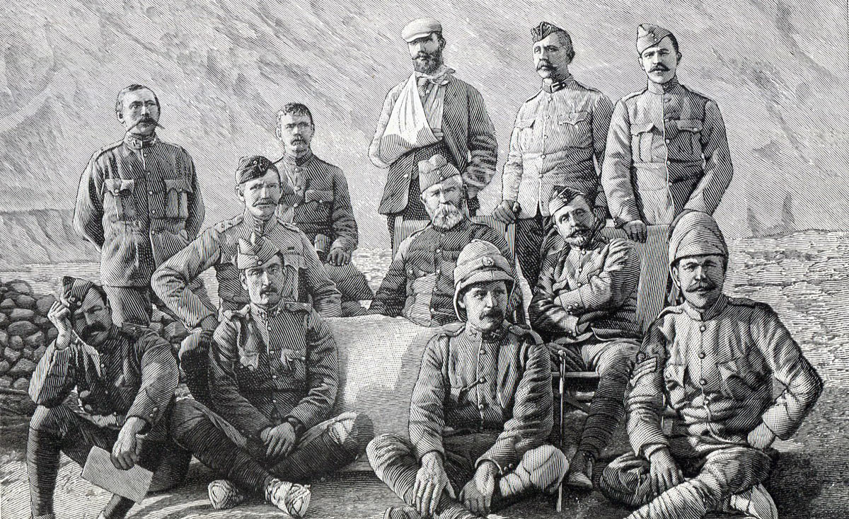 Colonel Kelly with his staff (from left: Lt Stewart RA, Lt Peterson, Lt Beynon, Lt Cobbe, Surg-Capt Luard, Lt Jones, Col Kelly, Lt Bethune, Surg-Capt Browning Smith, Captain Borrodaile, Lt Moberly, Sgt Reeves): Siege and Relief of Chitral, 3rd March to 20th April 1895 on the North-West Frontier of India