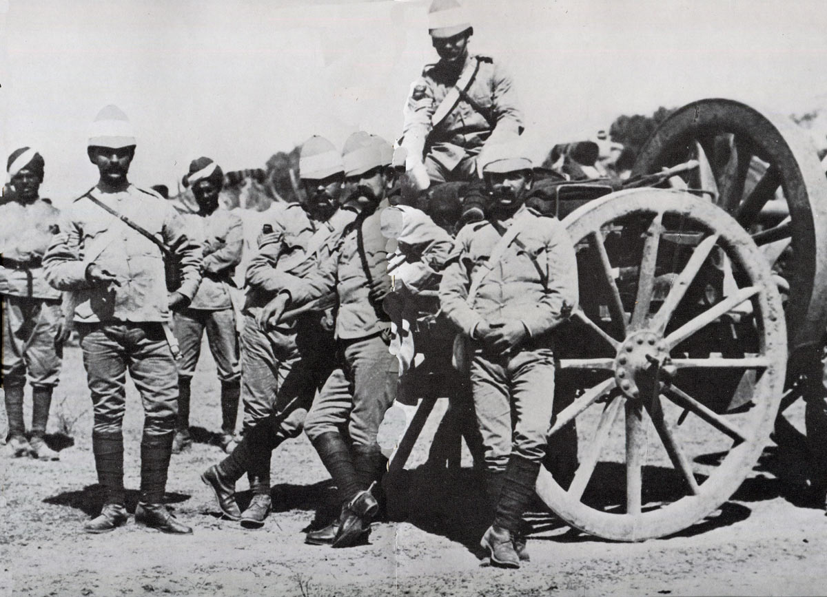 British gunners with a 12 pounder field gun: Malakand Rising, 26th July to 22nd August 1897 on the North-West Frontier of India