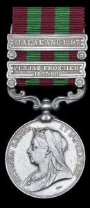 Indian General Service Medal 1854-1895 with the clasps 'Malakand 1897' and 'Punjab Border 1897-1898'