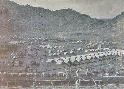 Malakand Camp South seen from the fort: Malakand Rising, 26th July to 22nd August 1897 on the North-West Frontier of India