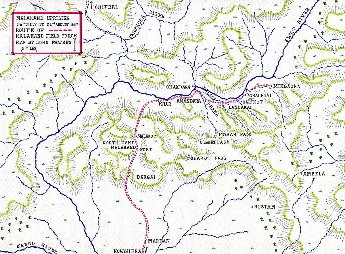 Map of the Malakand Rising, 26th July to 22nd August 1897 on the North-West Frontier of India: map by John Fawkes