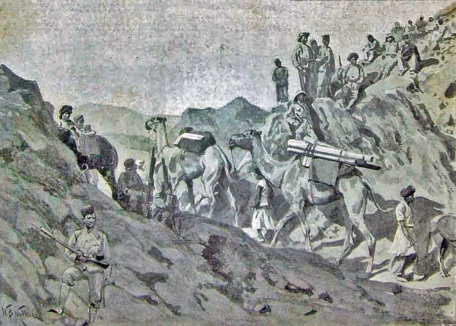 Gurkhas in the Nahaki Pass: Mohmand Field Force, 7th August to 1st October 1897, North-West Frontier of India: picture by William Barnes Wollen