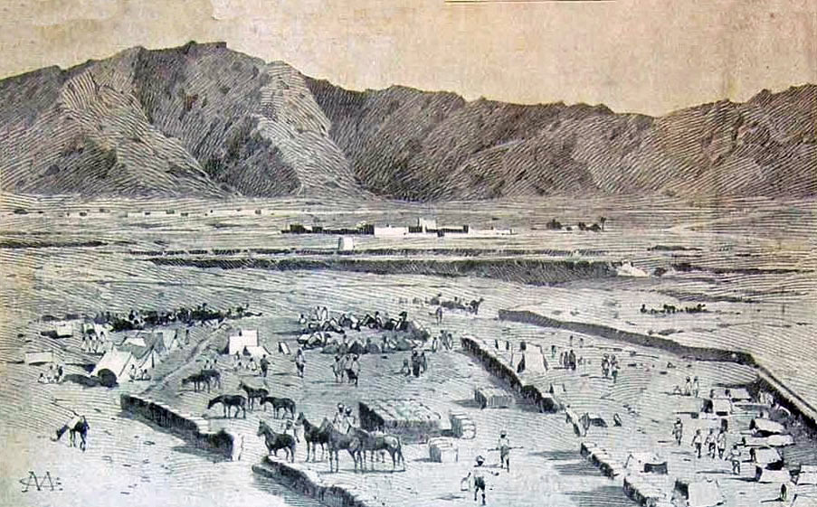 Mohmand Field Force in camp at Nahaki: Mohmand Field Force, 7th August to 1st October 1897, North-West Frontier of India: picture by Melton Prior