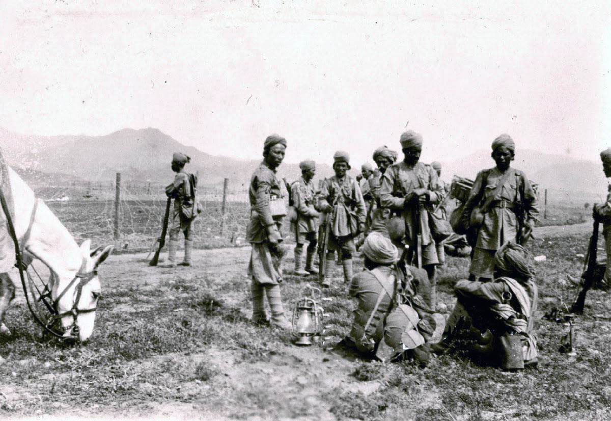 Troops by the road side: Mohmand Field Force, 7th August to 1st October 1897, North-West Frontier of India