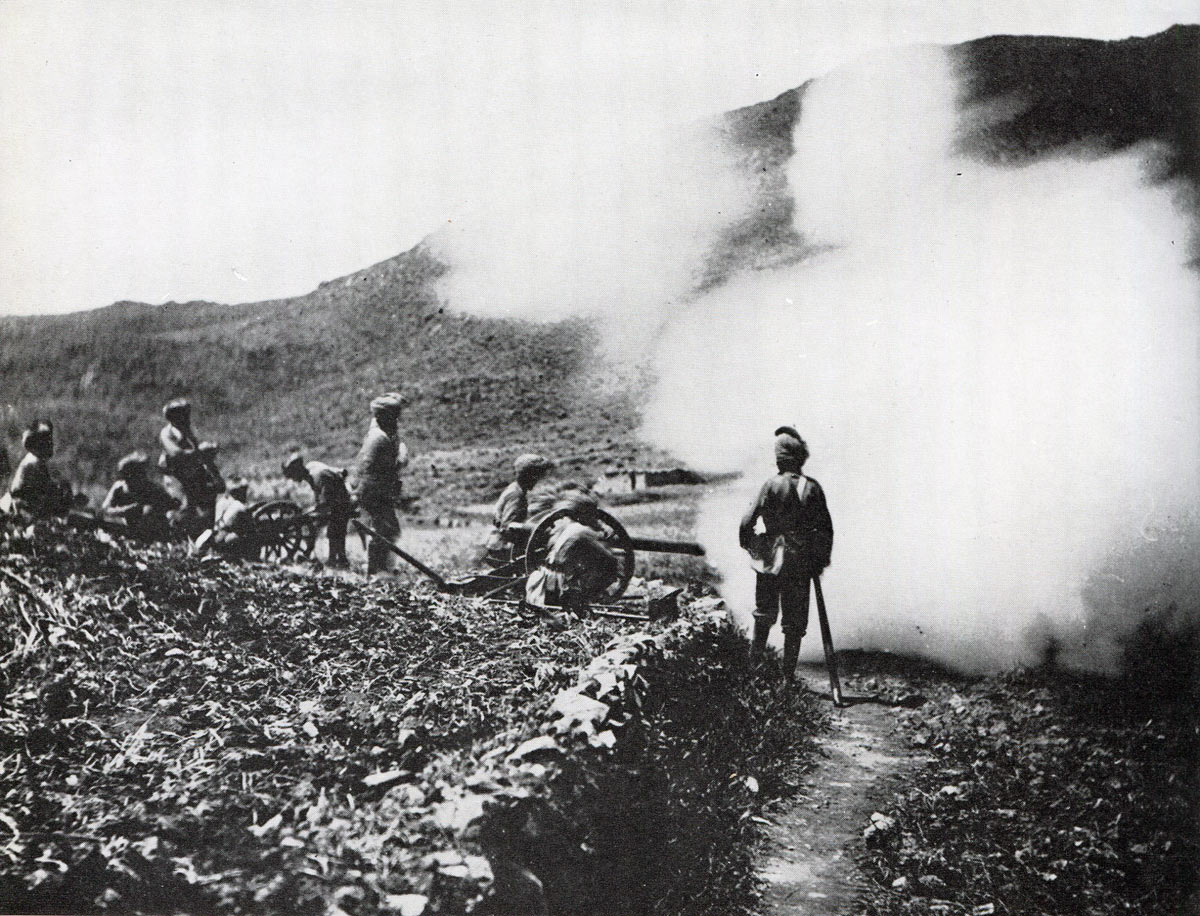 Mountain Battery of the Chitral Relief Force in action: Siege and Relief of Chitral, 3rd March to 20th April 1895 on the North-West Frontier of India