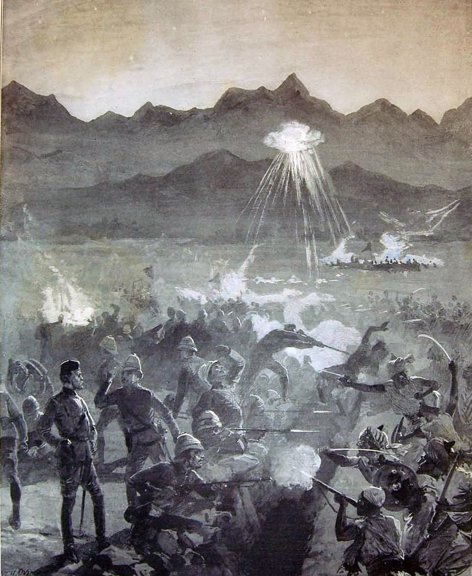 Night attack on the Nawagai Camp 19th and 20th September 1897: Malakand Field Force, 8th September 1897 to 12th October 1897 on the North-West Frontier of India: picture by WH Overend