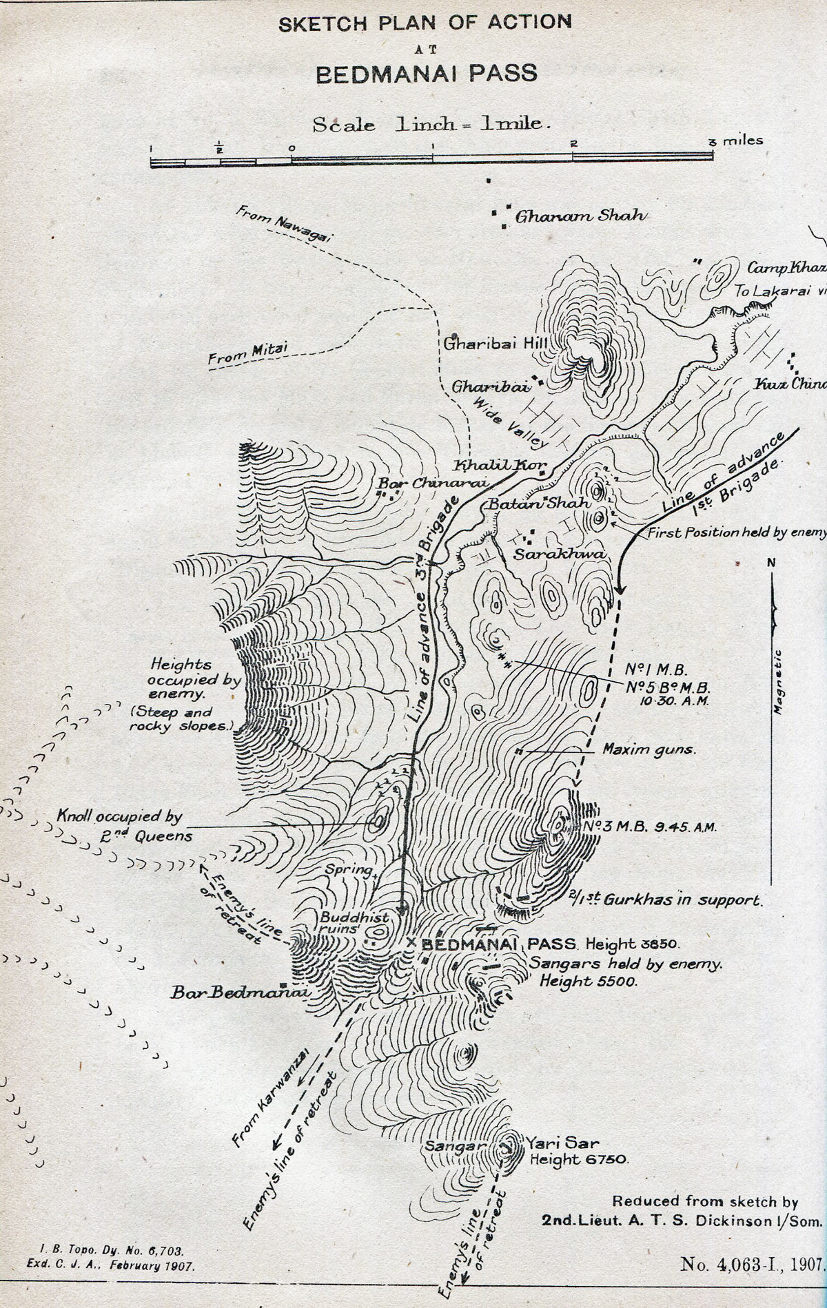 Sketch plan of the action in the Bedmanai Pass on 22nd September 1897: Mohmand Field Force, 7th August to 1st October 1897, North-West Frontier of India