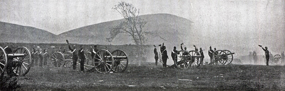 Royal Horse Artillery firing 12 pounder field guns': Malakand Rising, 26th July to 22nd August 1897 on the North-West Frontier of India