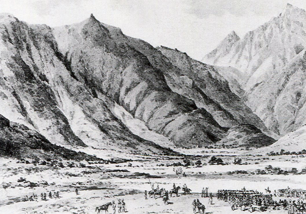 The Malakand Relief Column at Dargai: Malakand Rising, 26th July to 22nd August 1897 on the North-West Frontier of India: drawing by Edmund Hobday