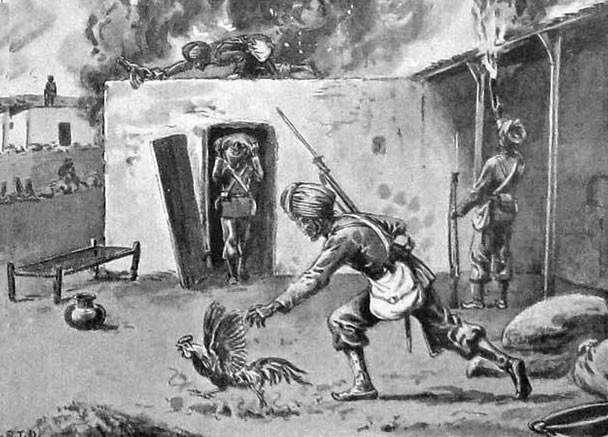 Sikh troops looting and destroying a village in the Swat Valley: Malakand Rising, 26th July to 22nd August 1897 on the North-West Frontier of India