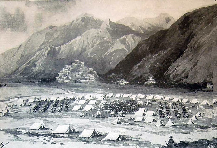 The camp at Thana: Malakand Rising, 26th July to 22nd August 1897 on the North-West Frontier of India