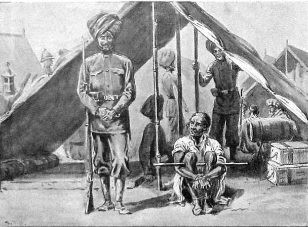 Tribesman held prisoner in Khar: Malakand Rising, 26th July to 22nd August 1897 on the North-West Frontier of India