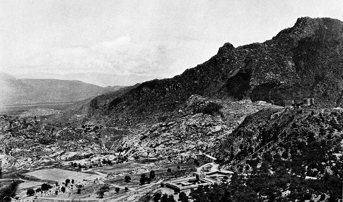 Malakand Camp seen from Malakand Fort, looking north towards the Swat River Valley: Malakand Rising, 26th July to 22nd August 1897 on the North-West Frontier of India