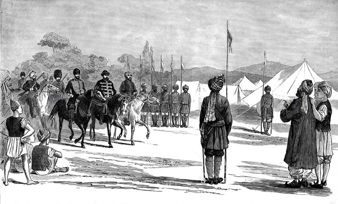 The Afghan army commander Sipah Salar visiting the Durand Commission encampment before the 1897 outbreaks: Mohmand Field Force, 7th August to 1st October 1897, North-West Frontier of India
