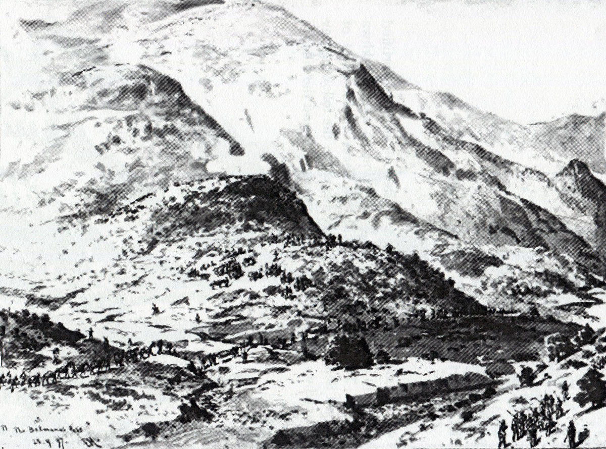 The Mohmand Field Force entering the Bedmanai Pass: Mohmand Field Force, 7th August to 1st October 1897, North-West Frontier of India: drawing by Edmund Hobday
