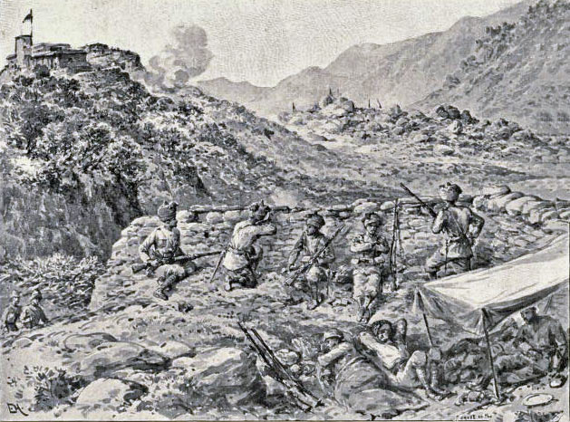Piquet of Guides Infantry on the Buddhist Road near Castle Rock: Malakand Rising, 26th July to 22nd August 1897 on the North-West Frontier of India: picture by Edmund Hobday